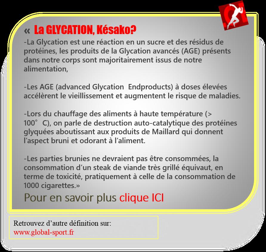 Définition Glycation
